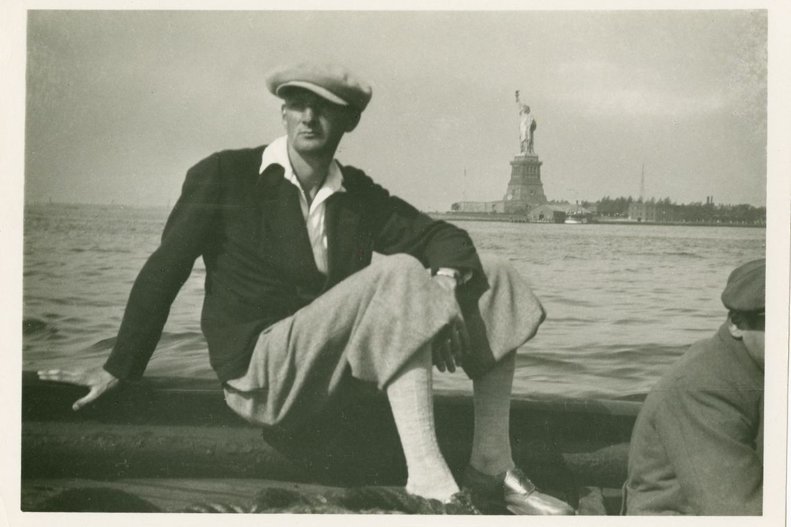 Albert Frey arriving in the United States by boat, with Statue of Liberty in the background, 1930.