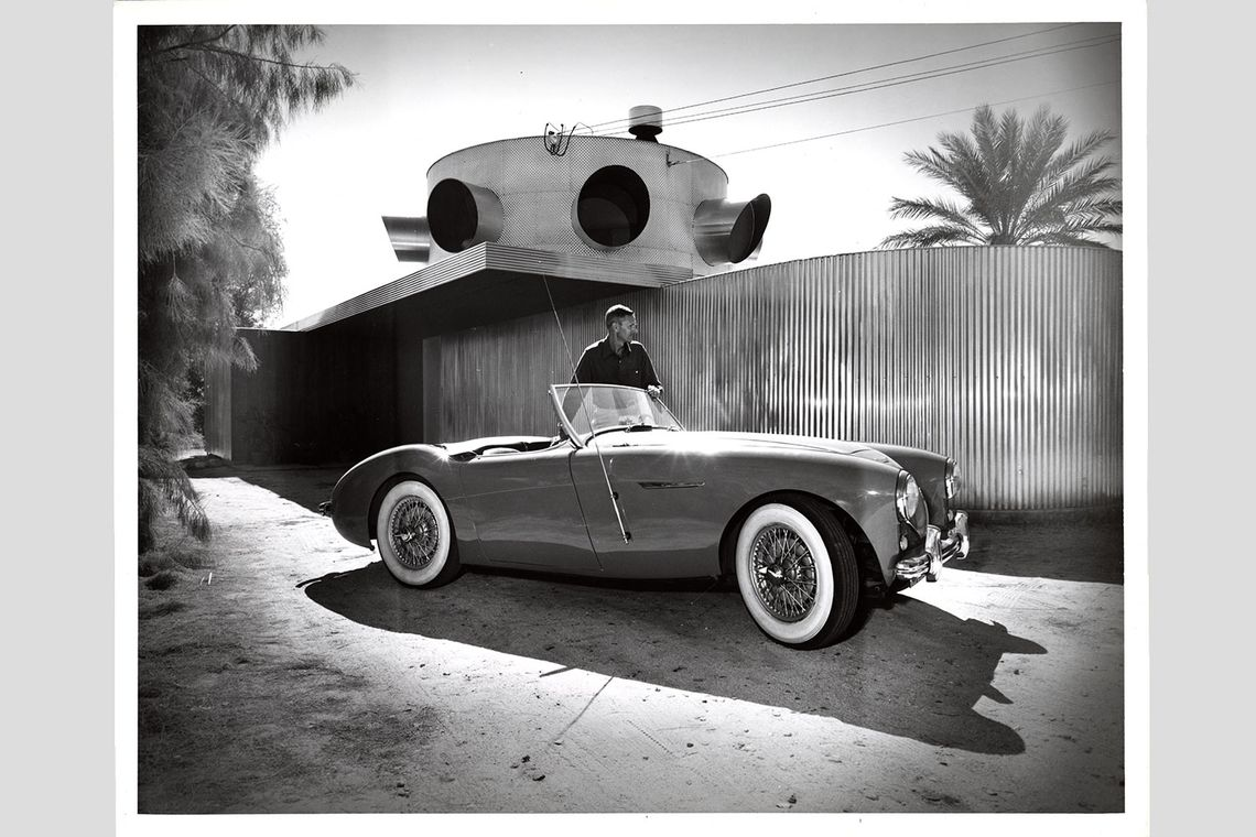 Albert Frey with car in front of Frey House 1, after addition, Palm Springs, Calif., circa 1950.