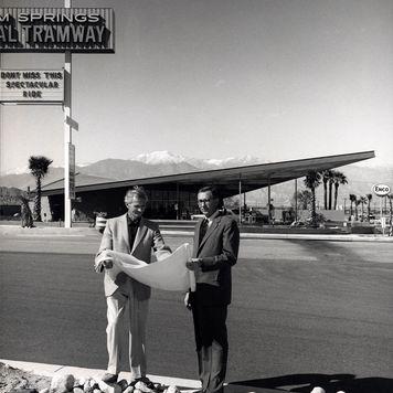 Albert Frey and Culver Nichols at the Tramway Gas Station, Palm Springs, Calif., after 1965.