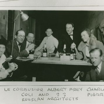 Group portrait of Le Corbusier, Albert Frey, Charlotte Perriand, and others, circa 1928.