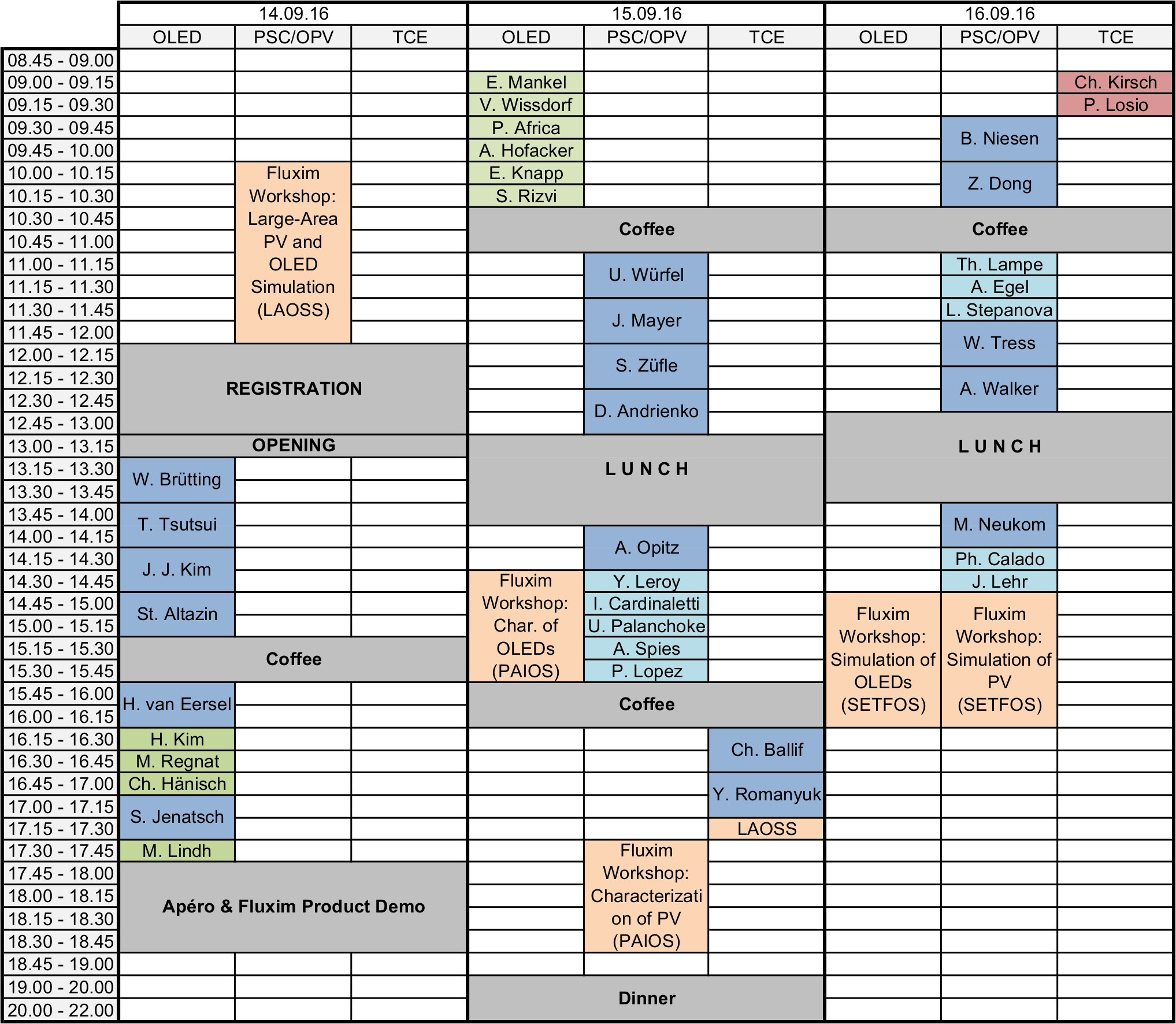 The picture shows an Excel Table with the detailled program at every hour during the conference days.
