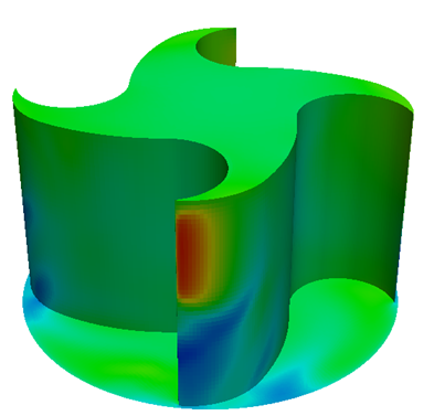 Fig. 3: Pressure distribution on the microturbine
