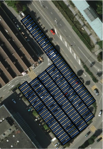 The picture shows the arrangement of the PV carport. The photo is from www.thurgis.ch.