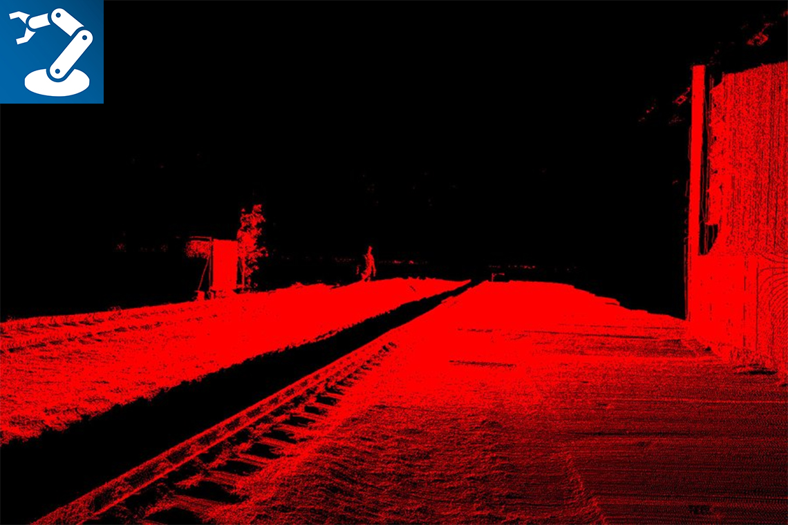 Row point cloud of a railway sector, transformed into Cartesian coordinate system